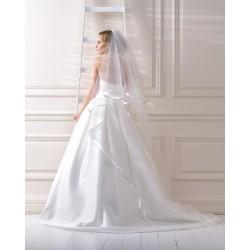 Voile de mariée bordure satin double couche 90/170 cm