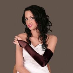 Longues mitaines gants en satin stretch marron brun