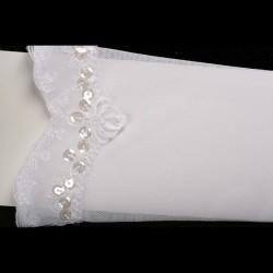 Gants mitaines de mariée voile stretch, perles et sequins
