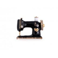 Broche pour couturière / Machine à coudre miniature ornée de strass / Bijou pour couturière