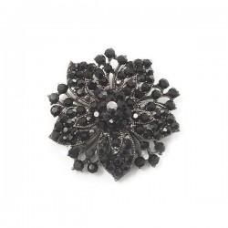 Broche cristaux noirs 55mm