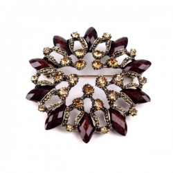 Broche cristaux marrons 6 cm