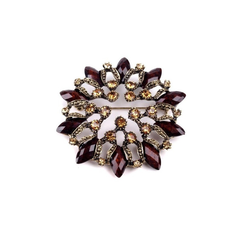 Broche cristaux marrons 6 cm