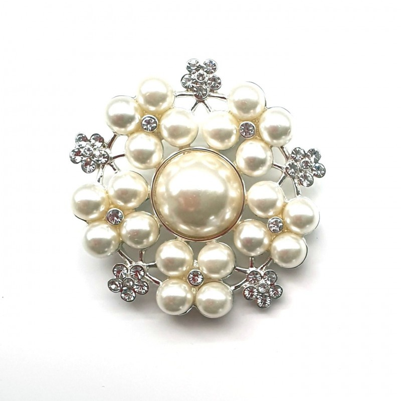 Broche perles ivoires et cristaux 55mm