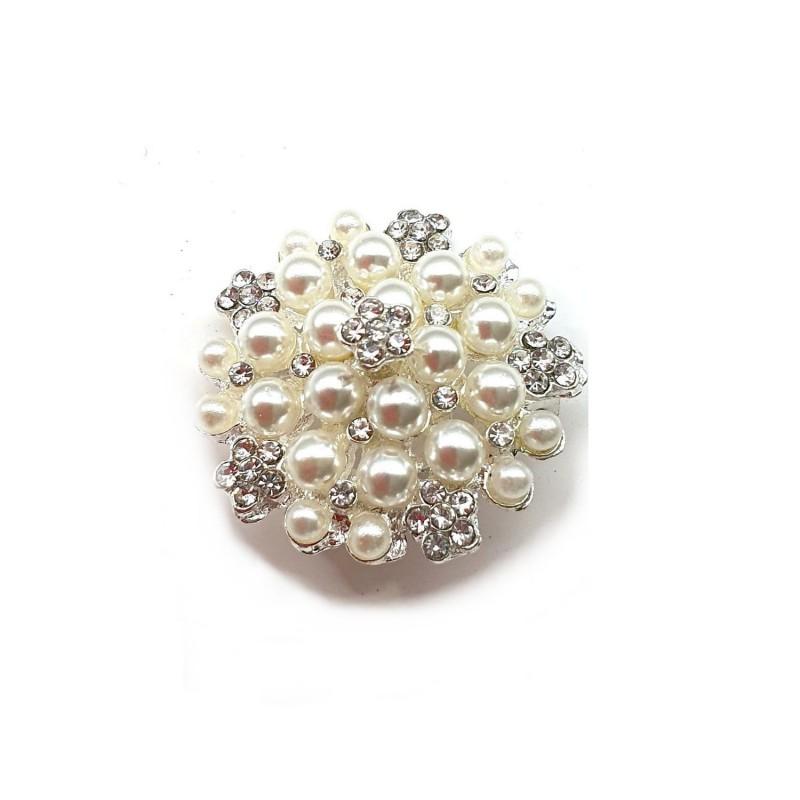 Broche perles ivoires et cristaux 28mm