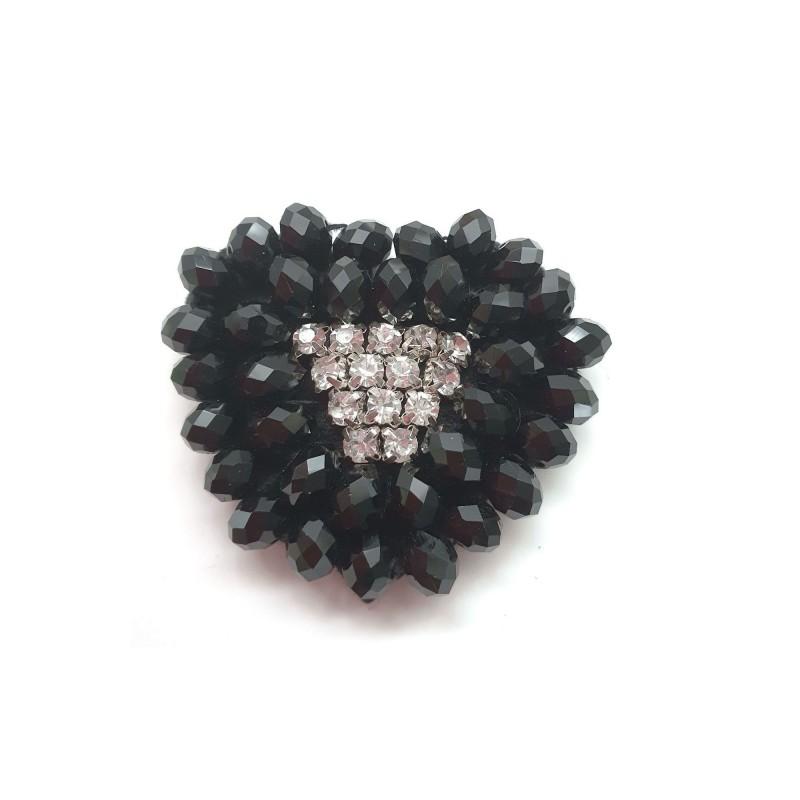 Broche cristaux noirs et transparents 50mm