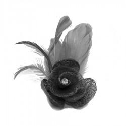 Petit accessoire de coiffure strass gris foncé