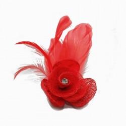 Petit accessoire de coiffure strass rouge vif