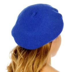 Béret femme feutre de laine bleu électrique