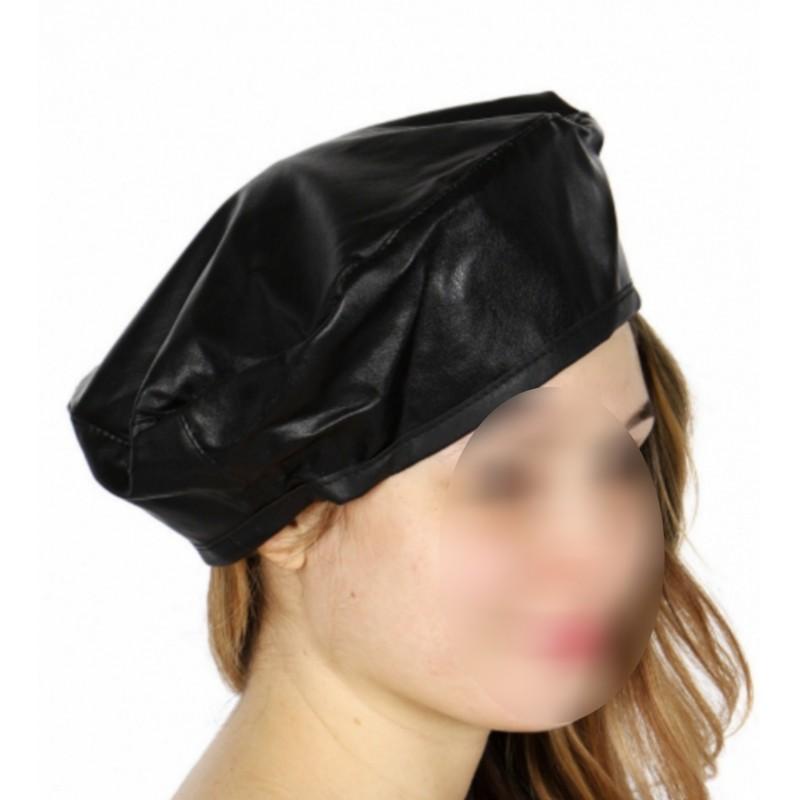 Béret femme simili cuir noir