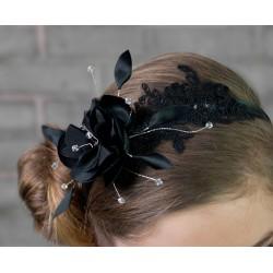 Accessoire pour coiffure noir avec plumes