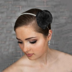 Headband mariage fleur organza noire et cristal